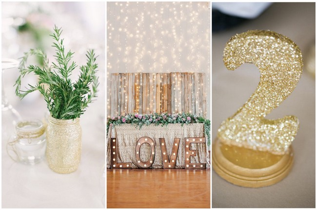 20 DIY Glitter Wedding Theme Ideas & Inspiration