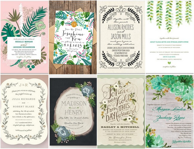 22 amazing greenery botanical wedding invitations, Wedding invitations