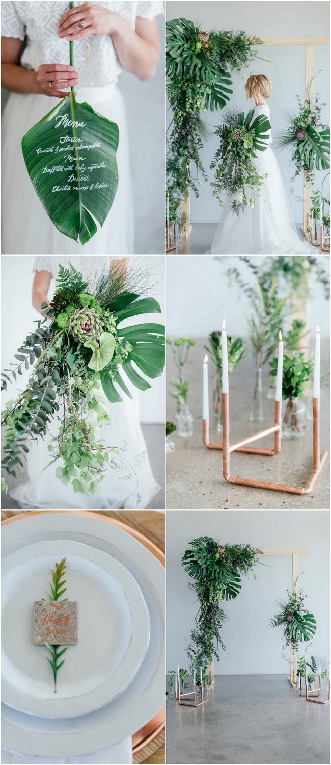 Get loads of greenery + copper wedding ideas, plus lots of useful decor tips for minimalist styling, flower names, DIY projects + more!