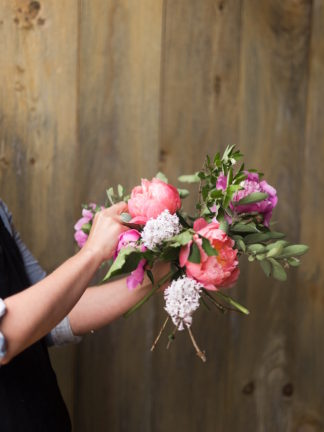 How to create a romantic, hand tied garden wedding bouquet.