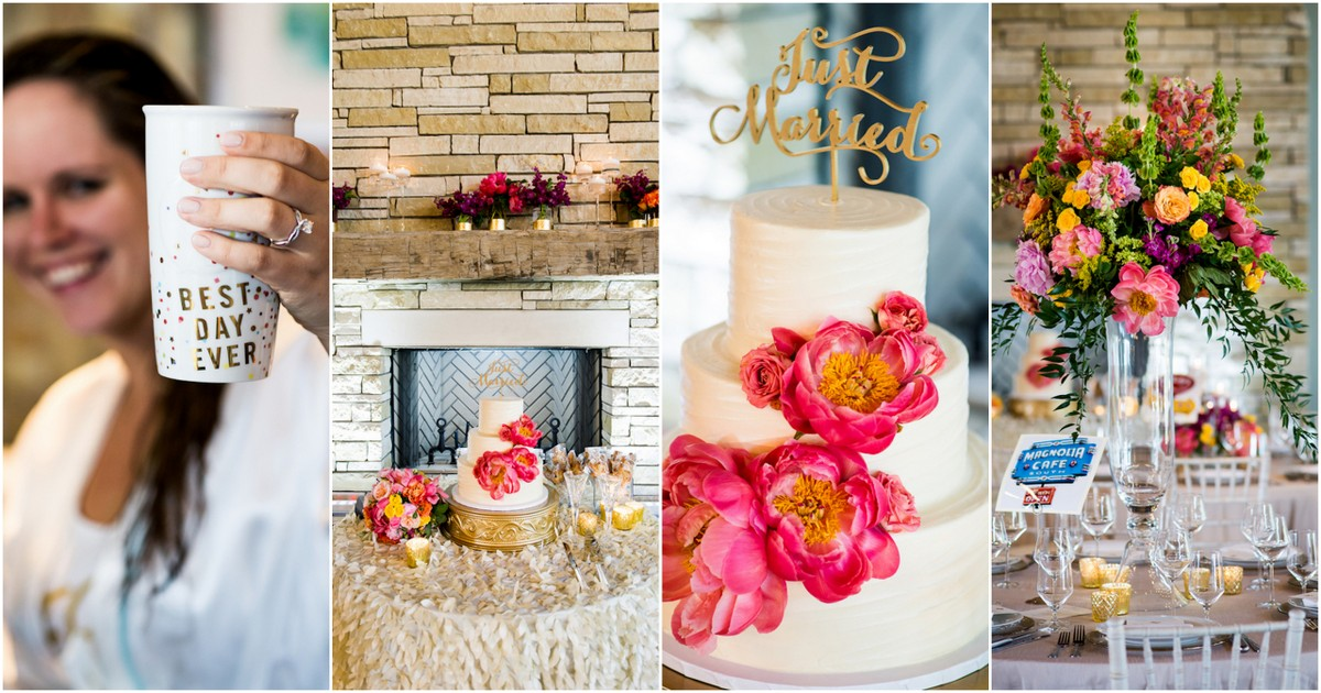 Hot Coral Pink and Gold Peony Wedding