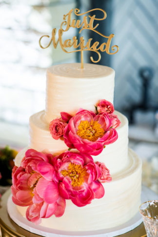 Hot Pink and Gold Peony Wedding Cake