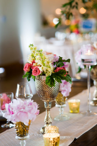 Hot Pink and Gold Peony Wedding Table Flowers