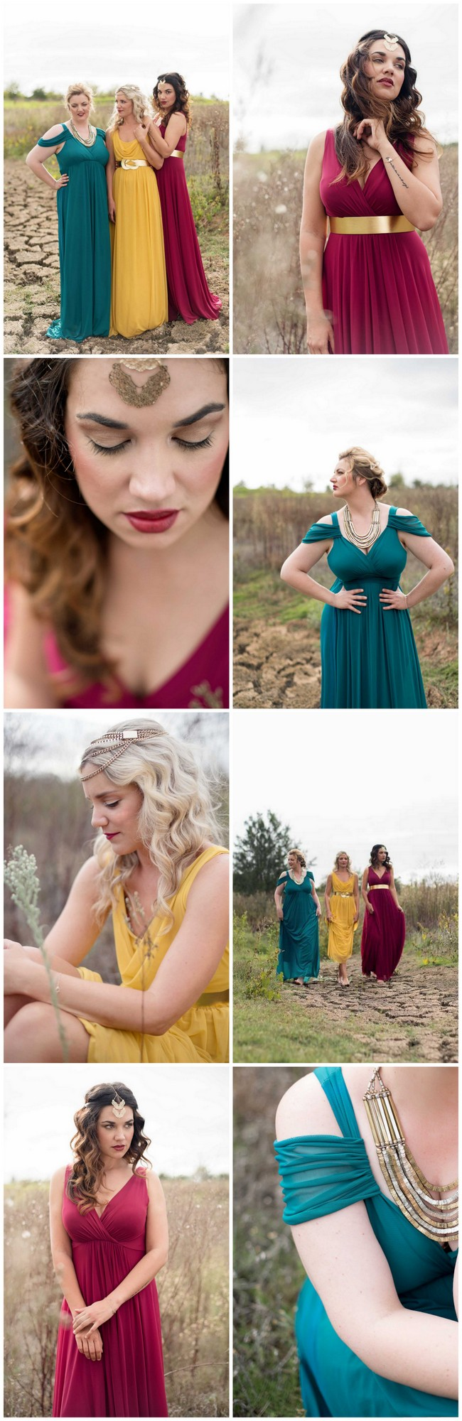 How to mix and match winter or fall bridesmaid dresses 4