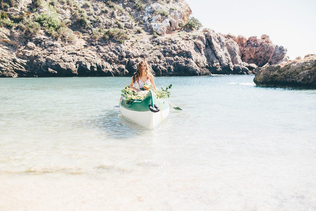 Summer Ibiza Wedding in a Canoe of flowers - Lovers Love Loving