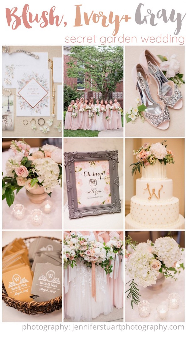 Ivory Blush Pink and Gray Wedding 4 |
