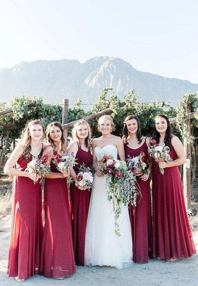 Marsala and Gold Farm Wedding