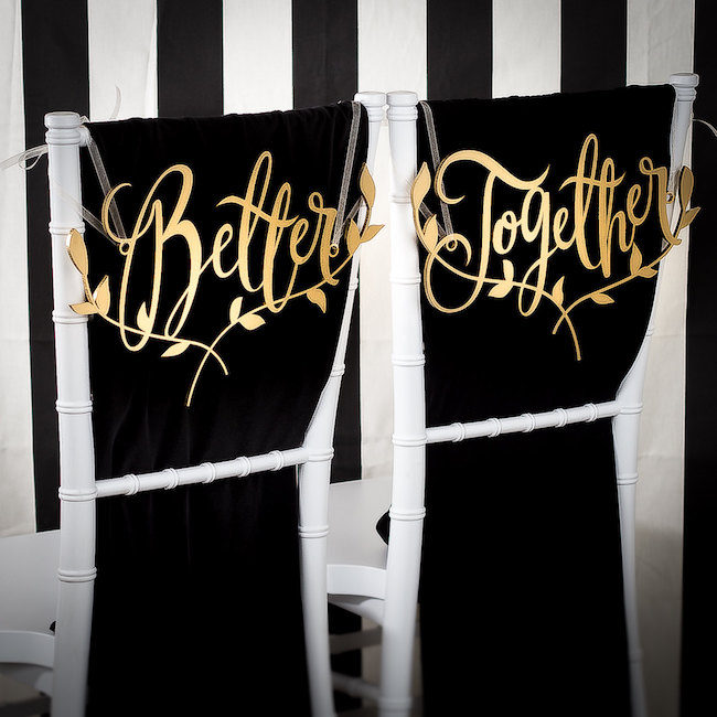 Better Together Mr and Mrs Signs for your wedding chairs. See 20 more cute and creative ideas here: https://confettidaydreams.com/mr-and-mrs-signs/