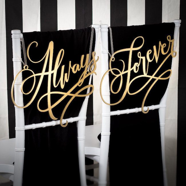 Always and Forever Mr and Mrs Signs. See 20 more cute and creative ideas here: https://confettidaydreams.com/mr-and-mrs-signs/