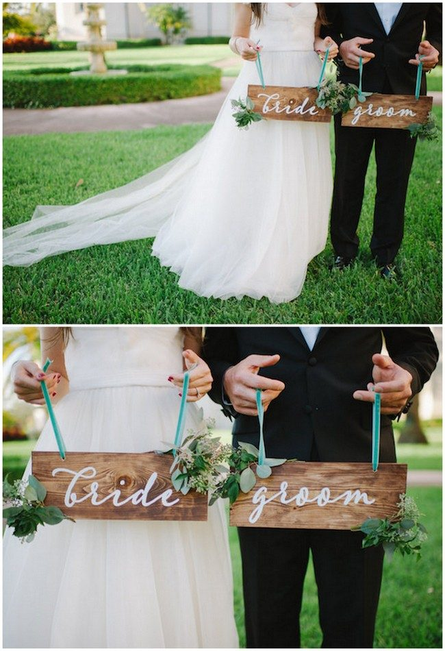 Bride and groom sign decal! Stick on the board or surface you want! See 20 more cute and creative ideas here: https://confettidaydreams.com/mr-and-mrs-signs/