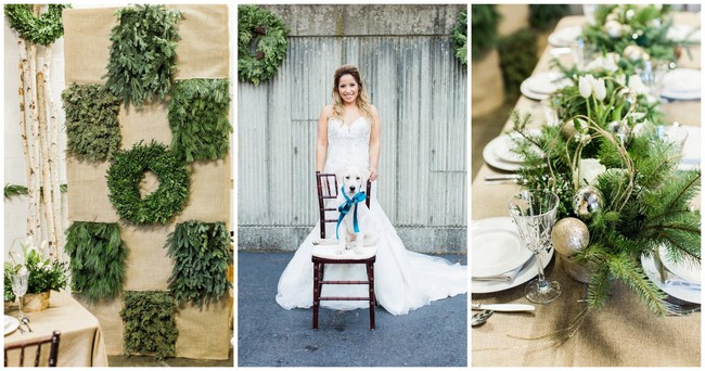Natural Winter Holiday Wedding Ideas in Green + White {Alicia Wiley Photography & Intrigue Designs}