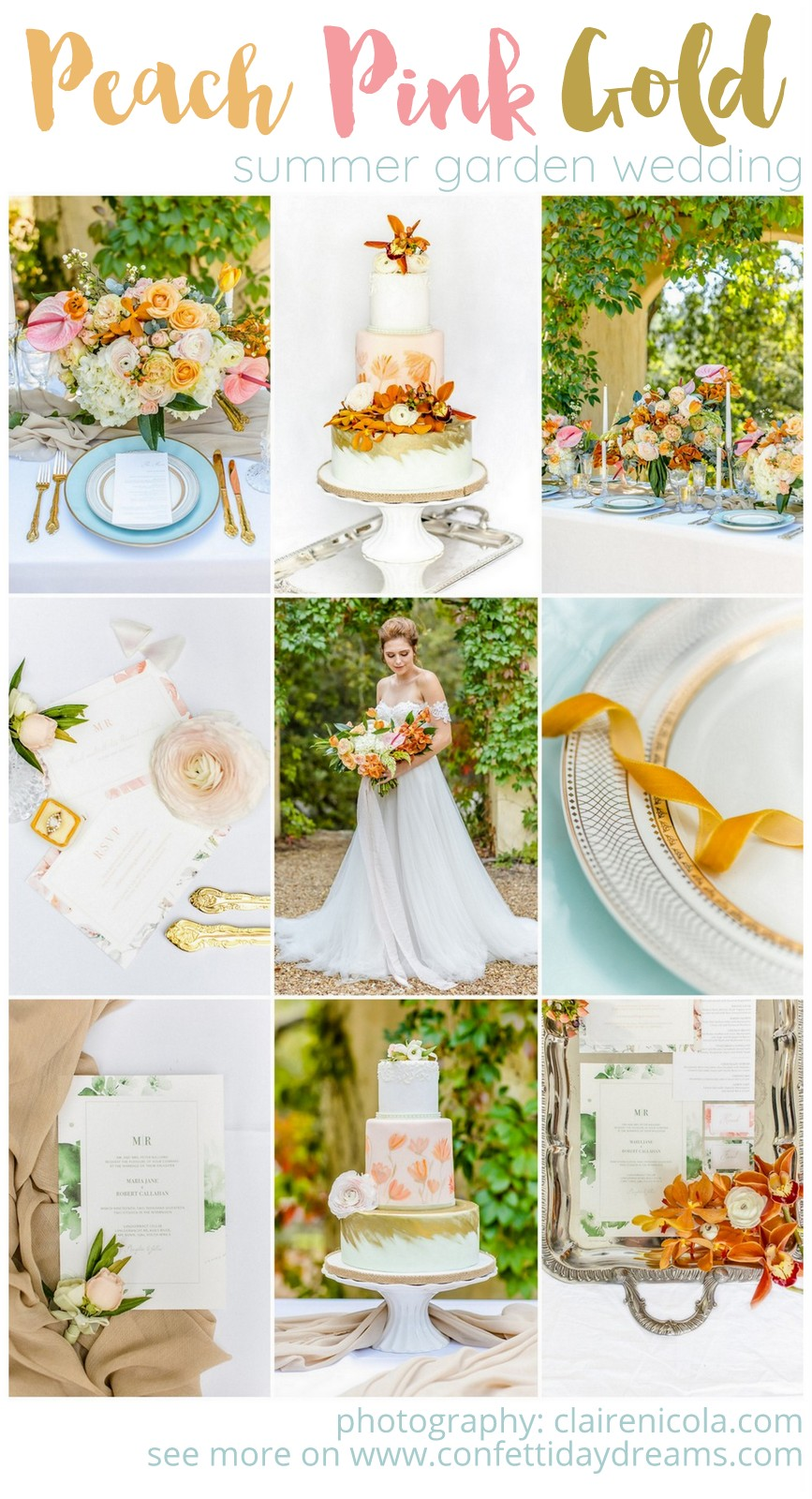Peach Pink and Gold Summer Wedding ideas for your outdoor celebration!
