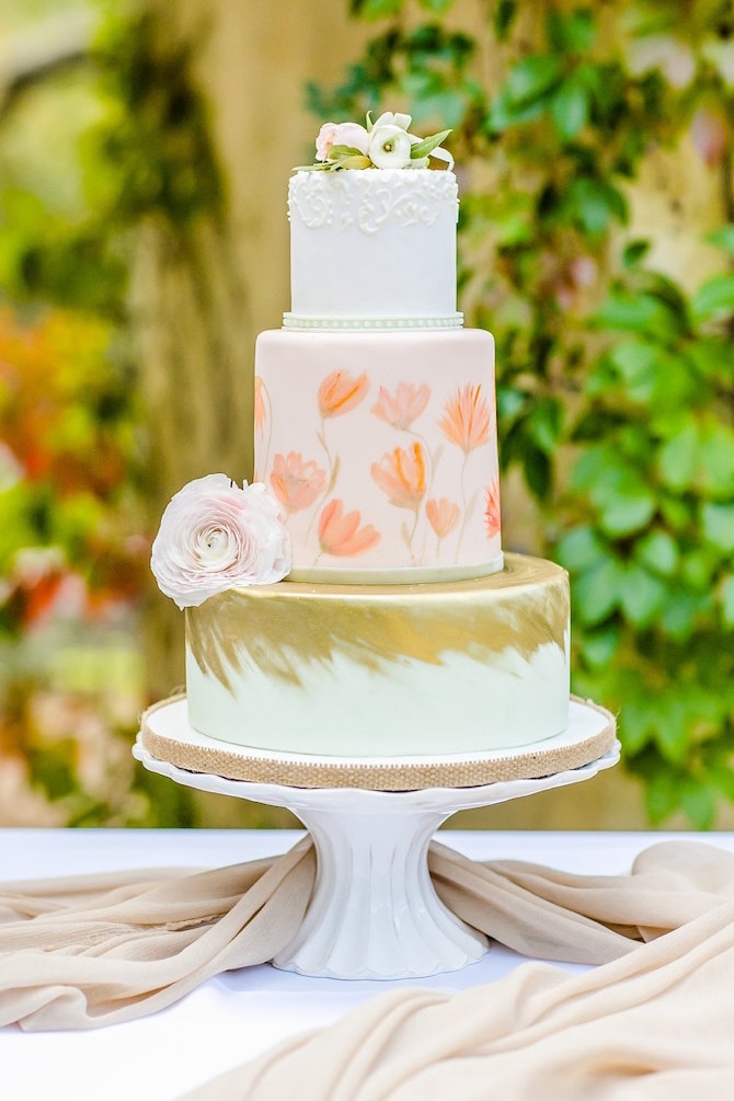 Pink Peach Gold Wedding Cake |
