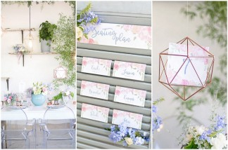 Rose Quartz Pink and Serenity Blue Geometric Wedding Ideas - Veronique Photography