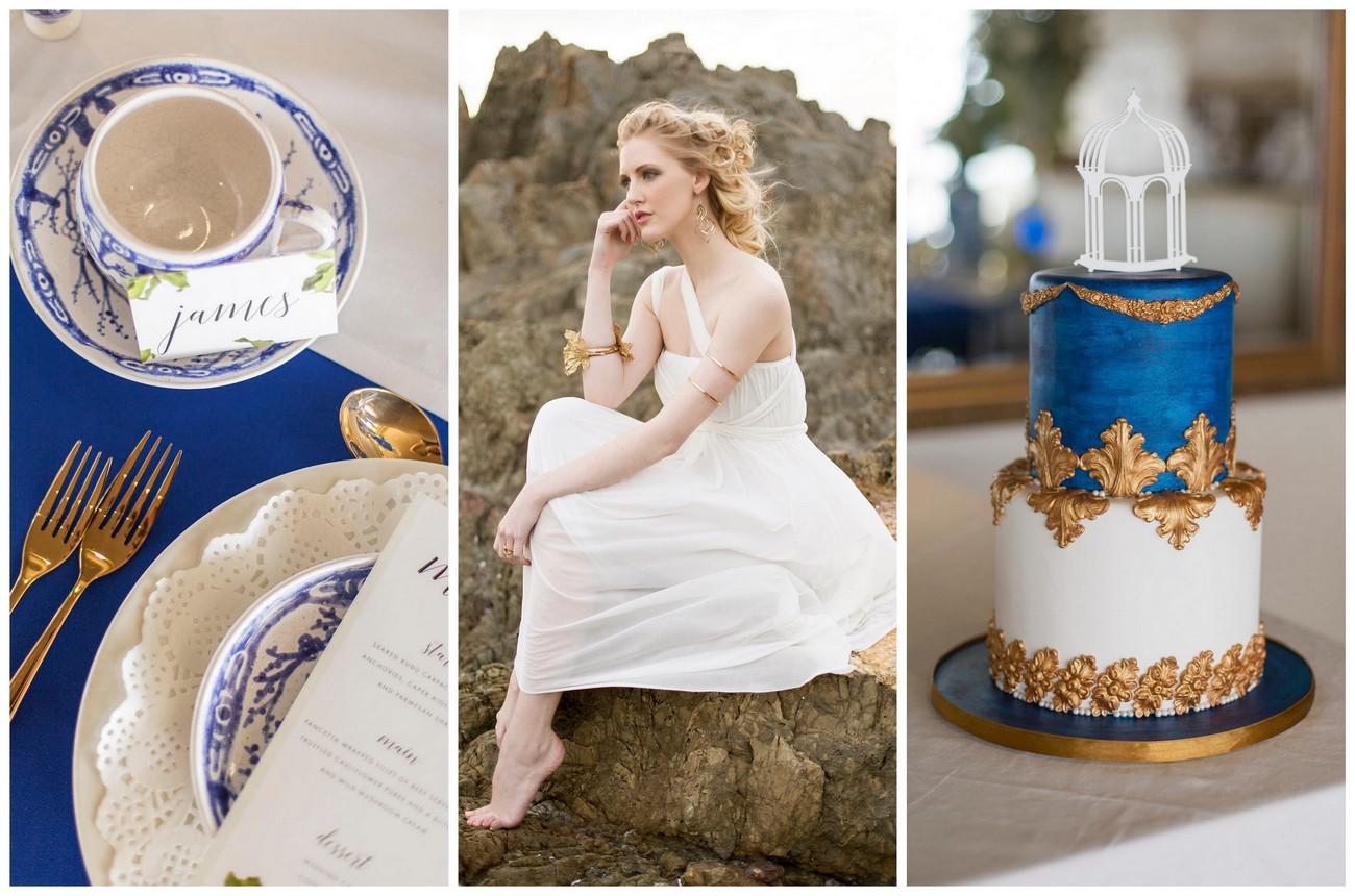 Amazing Royal Blue Gold White Grecian Inspired Wedding Ideas Sonje Short Hairstyles For Black Women Fulllsitofus