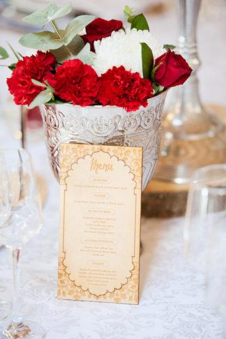 Green and Red Hindu Wedding Reception