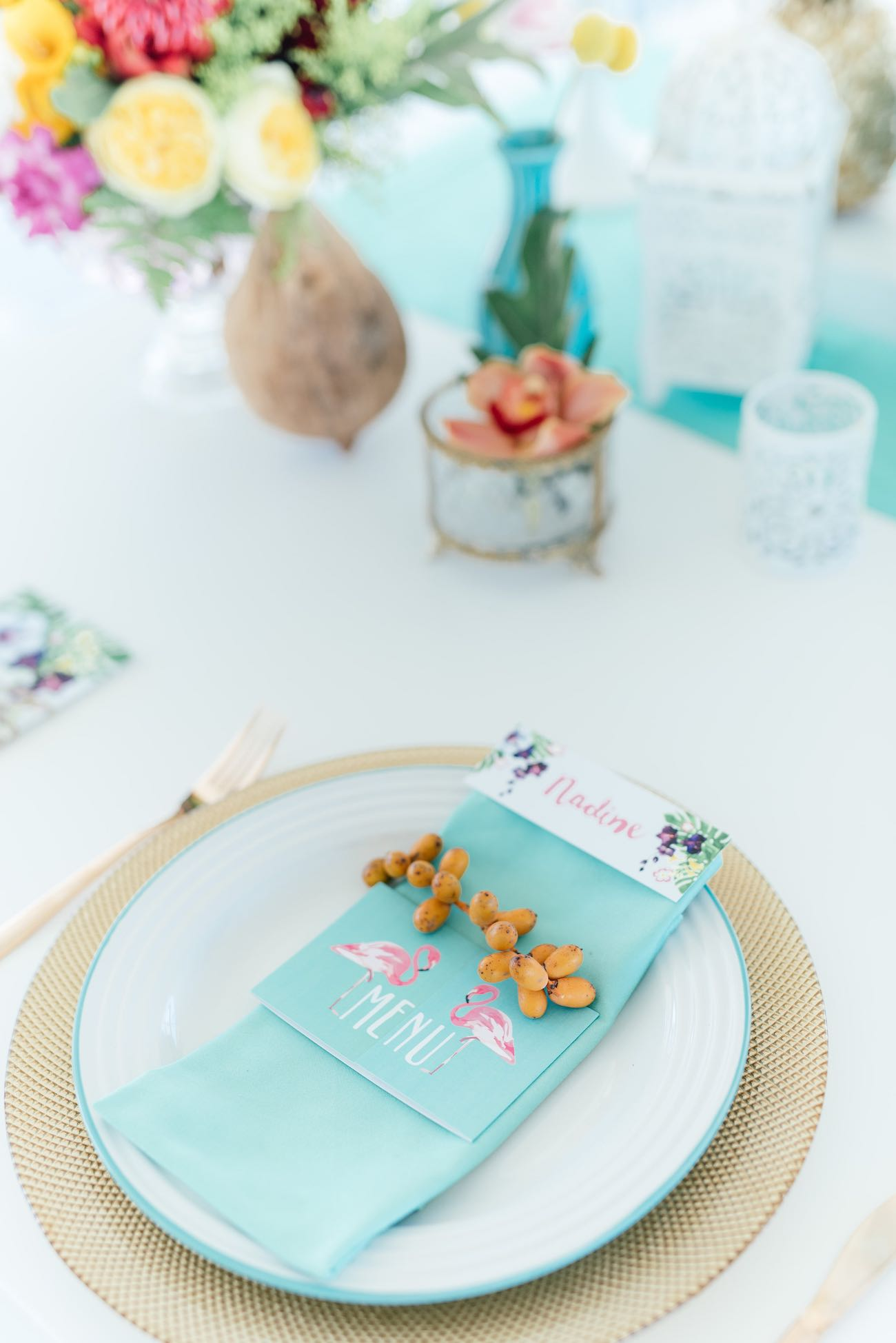 Beautiful pastel name cards and menus with tropical hand painted details. Click for the most absolutely gorgeous Tropical Wedding ideas ever!