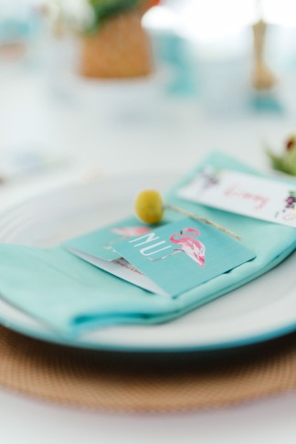 Mint and pink flamenco invitations. The most absolutely gorgeous Tropical Wedding ideas ever!