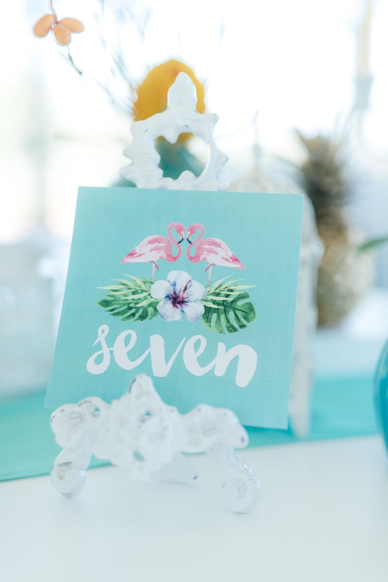Pink and mint tropical wedding table numbers: flamingos and ferns. Click for the most absolutely gorgeous Tropical Wedding ideas ever!