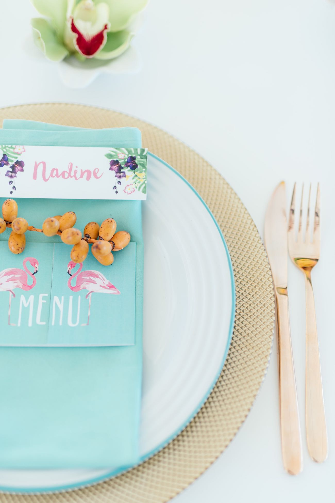 Tropical wedding place setting with hand painted menu and name card. Click for the most absolutely gorgeous Tropical Wedding ideas ever!