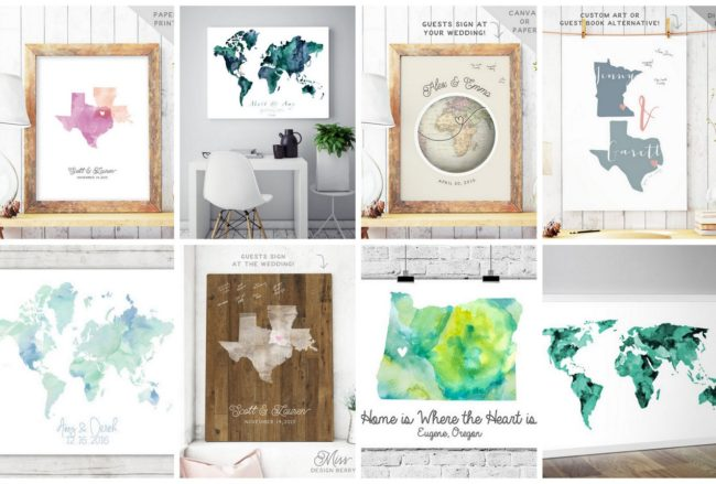 10 Gorgeous Wedding Map Guest Book Alternatives!