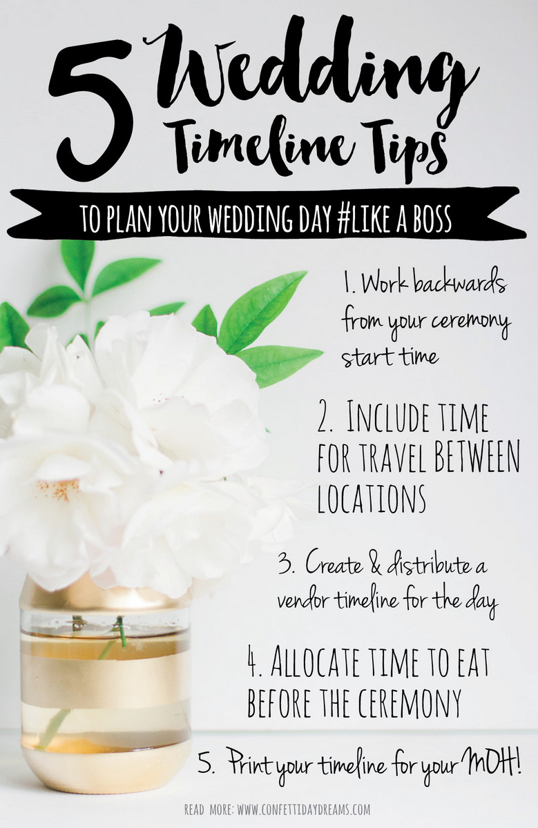 Don't Make These 5 Wedding Day Timeline Mistakes! Couples forget to schedule time to eat while getting ready, don't include travel time between locations and ... Read more:  https://www.confettidaydreams.com/wedding-day-timeline-advice/