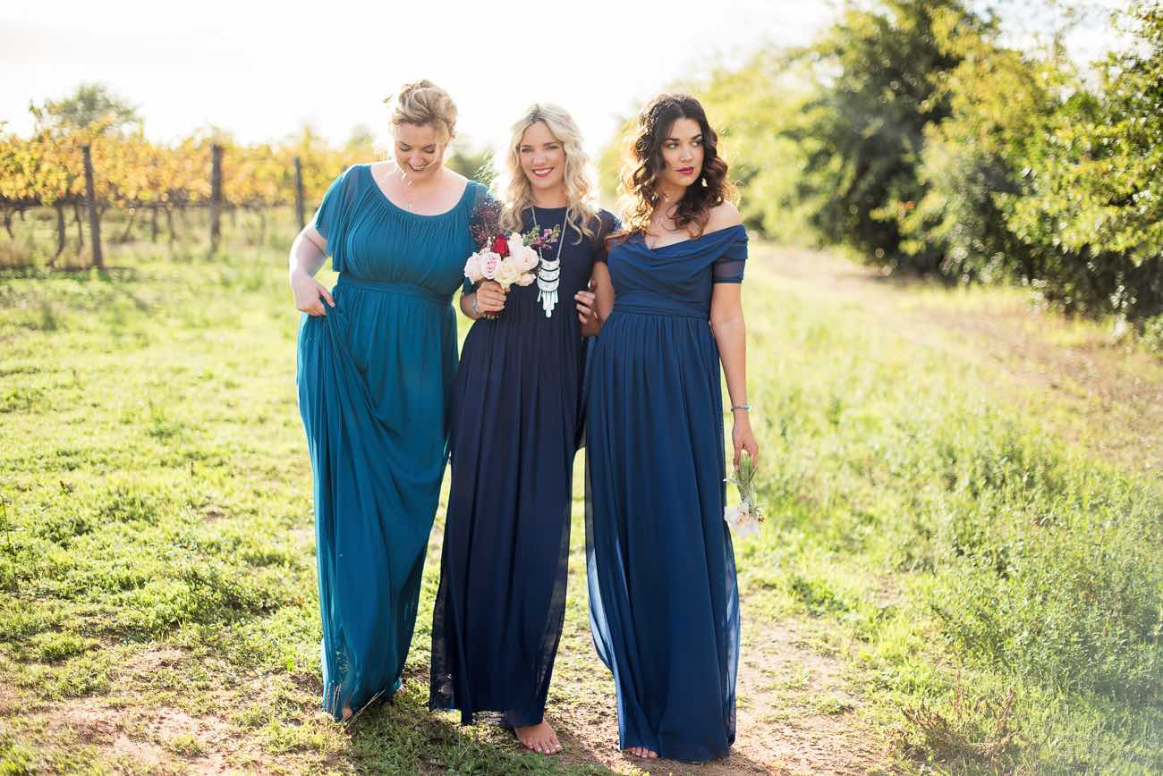 How to mix + match winter bridesmaid dresses - and accessory ideas.