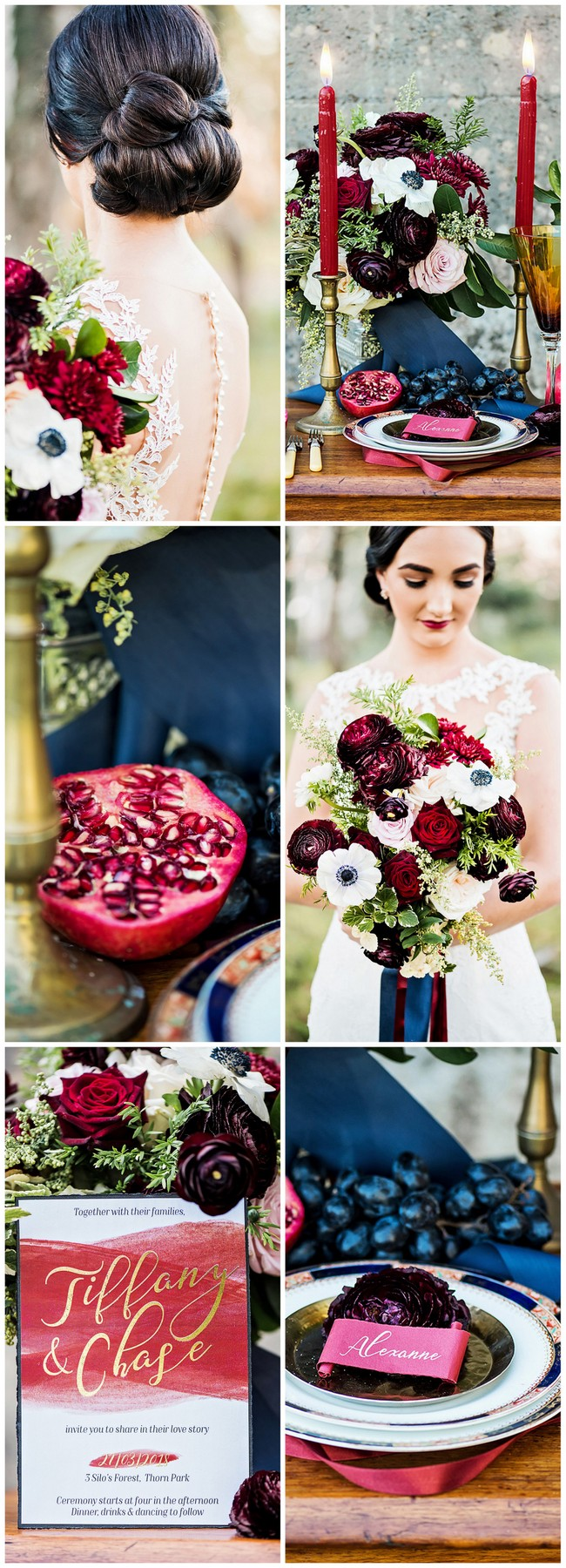 Burgundy red and navy wedding with gold