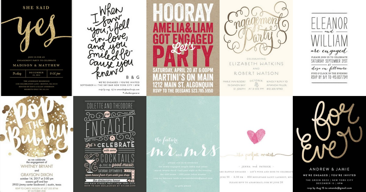 22 Engagement Party Invitations Youll Want to Say Yes to – Creative Engagement Party Invitations
