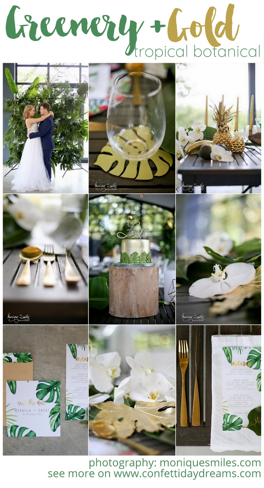 Modern Greenery And Gold Botanical Wedding Theme Ideas