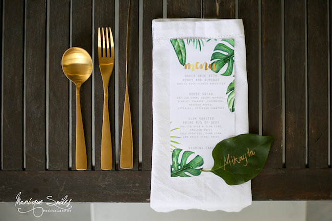 Green and gold botanical wedding
