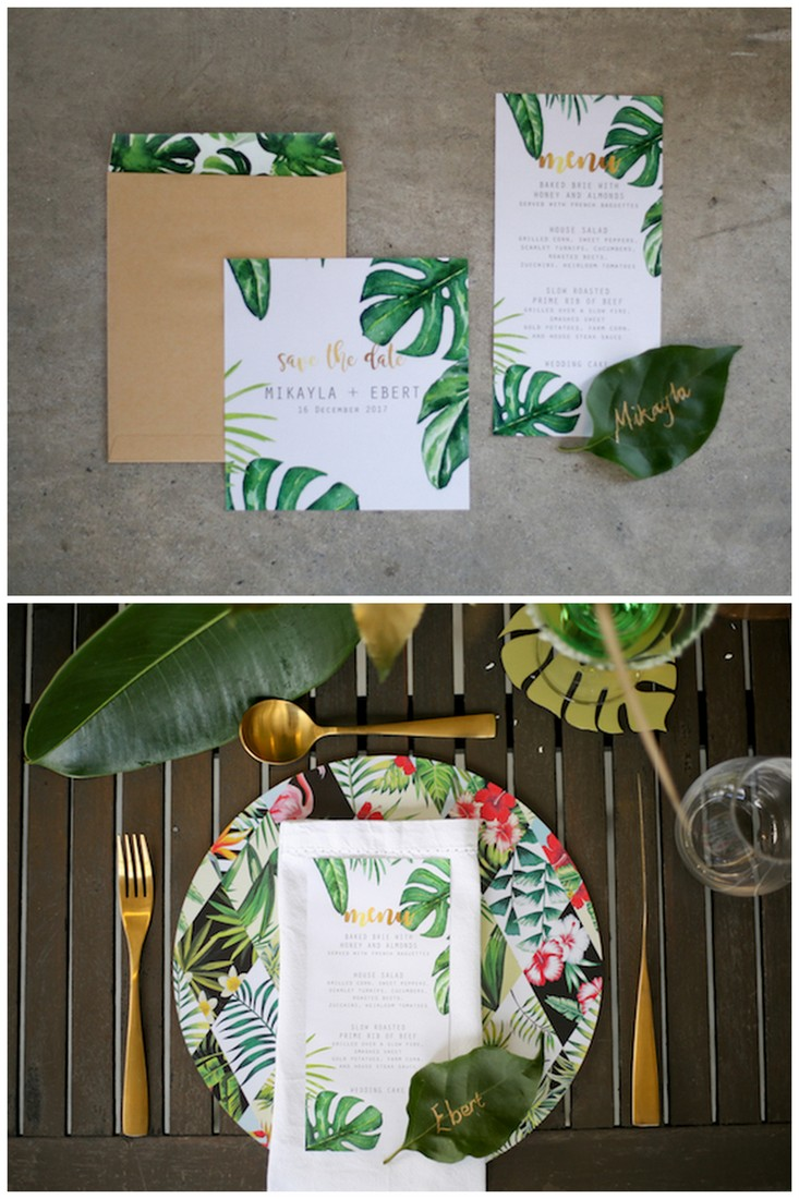 Ggreenery and gold botanical wedding