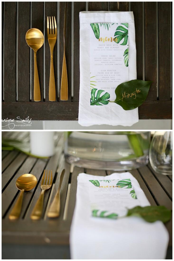 Ggreenery and gold botanical wedding